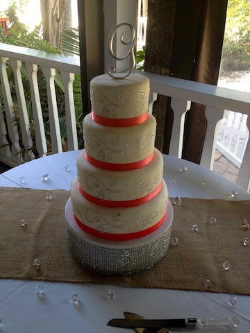 Coral and Bling Wedding Cake