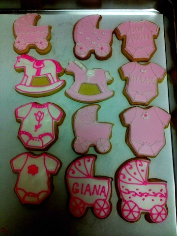 Pink and White Baby Shower Cookies