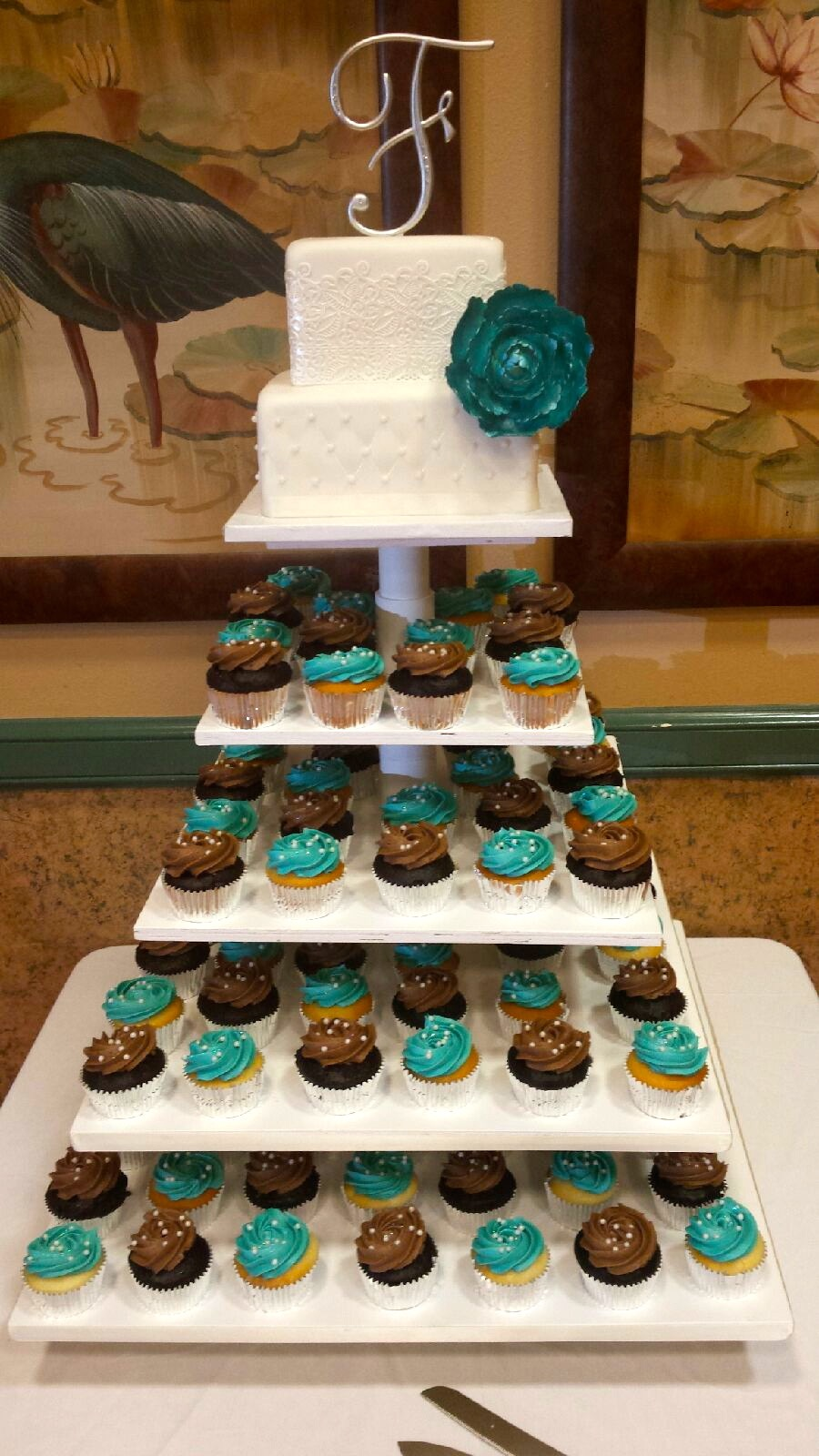 teal blue and brown wedding cakes cupcakes cakes so simple 20775